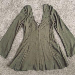 Olive green long-sleeved dress